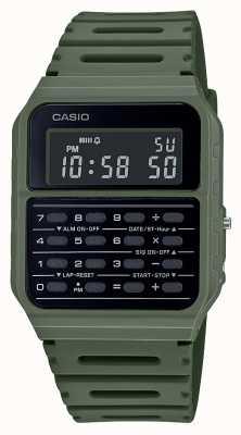 Casio Retro rekenmachine horloge | groene kunststof band | zwarte wijzerplaat CA-53WF-3BEF