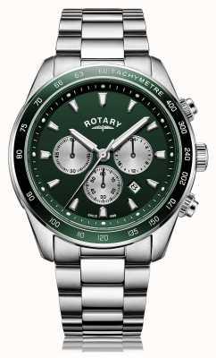 Rotary Heren | henley | chronograaf | groene wijzerplaat | roestvrij stalen armband GB05109/24