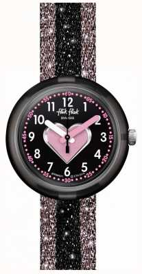 Flik Flak Cuoricino   roze/zwarte stoffen band   zwarte wijzerplaat FPNP071