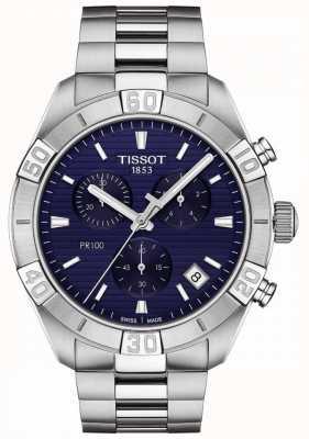 Tissot Pr100 sport | chronograaf | blauwe wijzerplaat | roestvrij stalen armband T1016171104100