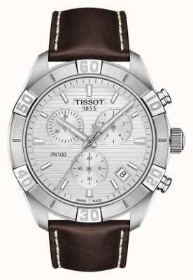 Tissot Pr100 sport | chronograaf | zilveren wijzerplaat | bruine lederen band T1016171603100