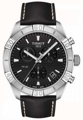 Tissot Pr100 sport | chronograaf | zwarte wijzerplaat | zwarte leren band T1016171605100