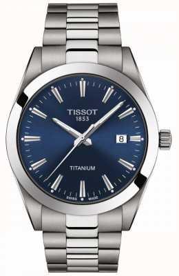 Tissot Heren titanium | grijs / zilver titanium armband | blauwe wijzerplaat T1274104404100