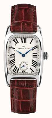 Hamilton Boulton   witte wijzerplaat   bruine lederen band H13321811