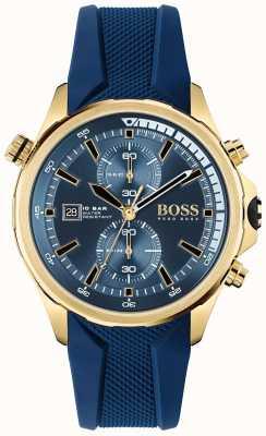 BOSS globetrotter | chronograaf | blauwe wijzerplaat | blauwe siliconen band | 1513822