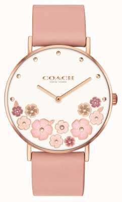 Coach Perry | roze kalfsleren damesriem | bloemen wijzerplaat 14503770