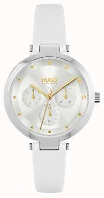 HUGO #hoop | witte leren damesband | zilveren wijzerplaat 1540086