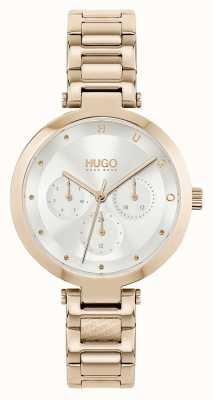 HUGO #hoop multi | roségoudkleurige stalen damesarmband | zilveren wijzerplaat 1540087