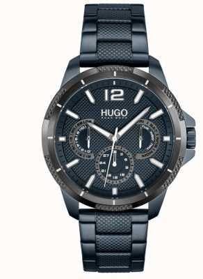 HUGO #sport | blauwe ip stalen armband voor heren | blauwe wijzerplaat 1530194