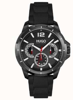 HUGO #sport | zwarte siliconen herenband | zwarte wijzerplaat 1530193