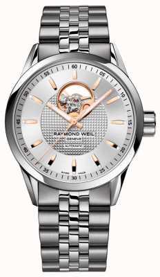 Raymond Weil Freelancer | roestvrijstalen herenarmband | zilveren wijzerplaat 2710-ST5-65021