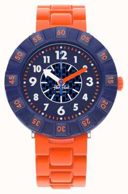 Flik Flak Oranjesteen   oranje siliconen band   blauwe wijzerplaat FCSP103