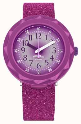 Flik Flak Purpleaxus   paarse glitter siliconen band   paarse wijzerplaat FCSP106