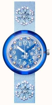 Flik Flak Bevroren   blauwe kristallen set stoffen band   blauwe wijzerplaat FPNP073