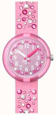 Flik Flak Millefeux   roze kristallen set stoffen band   roze wijzerplaat FPNP074