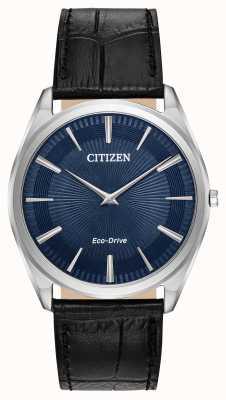 Citizen Stiletto | eco-drive voor heren | zwarte leren band | blauwe wijzerplaat AR3070-04L