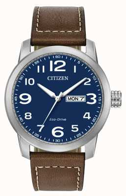 Citizen Eco-drive bruine leren herenband WR100 BM8471-19L