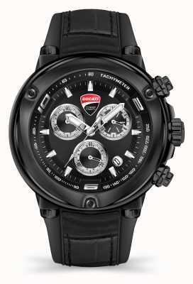 Ducati DT001 | chronograaf | zwarte wijzerplaat | zwarte siliconen band DU0064-CCH.A02