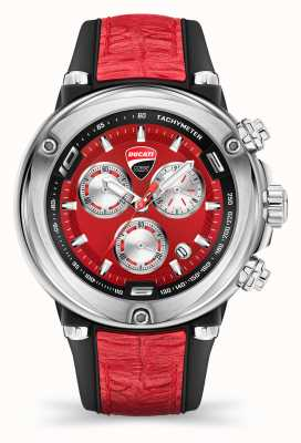 Ducati DT001 | chronograaf | rode wijzerplaat | rode siliconen band DU0064-CCH.A04