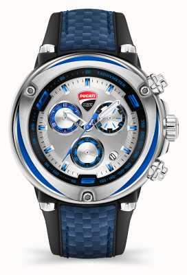 Ducati DT001 | chronograaf | zilveren wijzerplaat | blauwe siliconen band DU0064-ECH.B03