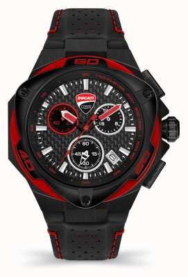Ducati DT002 | chronograaf | zwarte wijzerplaat | zwarte leren band DU0065-ECH.A04