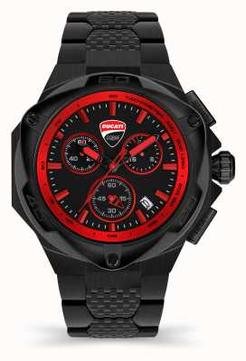 Ducati DT002 | chronograaf | zwarte wijzerplaat | zwarte pvd stalen armband DU0065-ECHB.B01