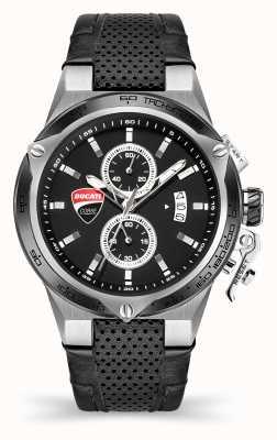 Ducati DT003 | chronograaf | zwarte wijzerplaat | zwarte leren band DU0066-CCH.B01