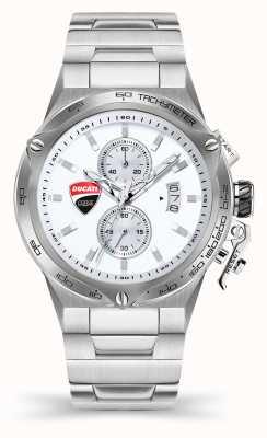 Ducati DT003 | chronograaf | zilveren wijzerplaat | roestvrij stalen armband DU0066-CCHB.E02