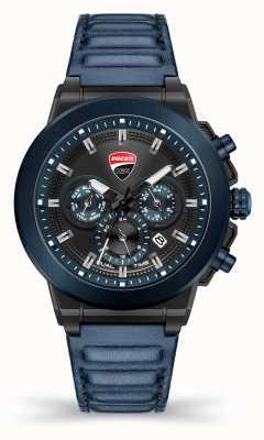Ducati DT004 | duel tijd | zwarte wijzerplaat | blauwe lederen band DU0068-CCH.A03