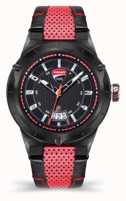 Ducati DT006 | zwarte wijzerplaat | rode lederen band DU0072-3HE.A01