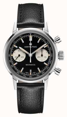 Hamilton Intramatisch | mechanisch | chronograaf | zwarte wijzerplaat | zwarte leren band H38429730