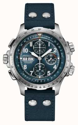 Hamilton Khaki luchtvaart x-wind   automatisch   chronograaf   blauwe wijzerplaat H77906940
