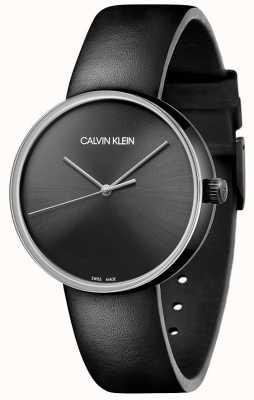 Calvin Klein Zwarte leren damesband | zwarte wijzerplaat KBL234C1