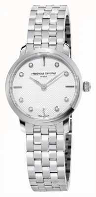Frederique Constant Slanke diamanten wijzerplaat voor dames   roestvrij stalen armband FC-200STDS26B