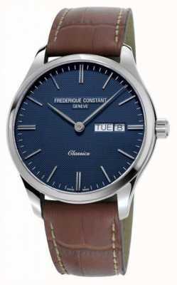 Frederique Constant Klassiek kwarts voor heren | bruine leren band | blauwe wijzerplaat FC-225NT5B6