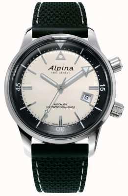 Alpina Heritage Seastrong Diver voor heren | zwarte siliconen band | witte wijzerplaat AL-525S4H6