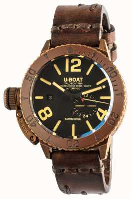 U-Boat Sommerso 46 | brons | keramische lunette | automatische bruine lederen band 8486/C