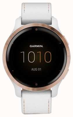 Garmin Venu 2s-touchscreen | 41 mm rosé vergulde bezel | witte kast | leren band (plus witte siliconen band) 010-02429-23