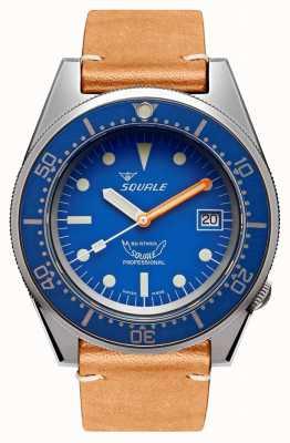 Squale Blauw gestraald | automatisch | blauwe wijzerplaat | bruine lederen band 1521BLUEBL.PC-CINVINTAGE