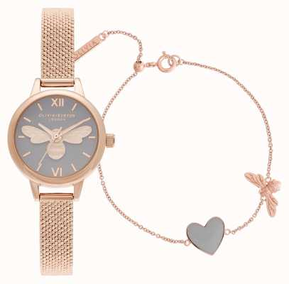 Olivia Burton You have my heart rose gold watch & bracelet giftset OBGSET148