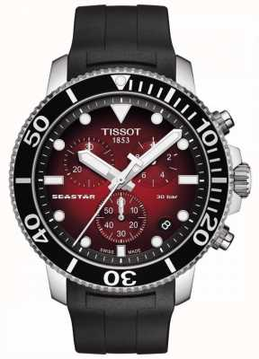 Tissot Seastar 1000 | chronograaf | rode wijzerplaat | zwarte siliconen band T1204171742100
