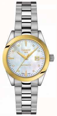 Tissot T-mijn dame   18k goud   auto   dweilknop   roestvrijstalen armband T9300074111600