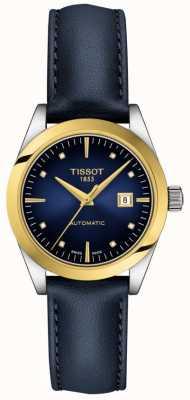 Tissot T-mijn dame   18k goud   auto   blauwe wijzerplaat   blauwe lederen band T9300074604600