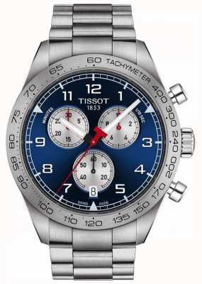 Tissot Prs 516   chronograaf   blauwe wijzerplaat   roestvrij stalen armband T1316171104200