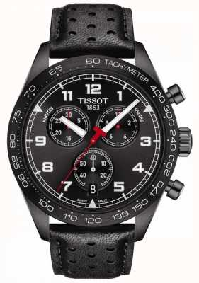 Tissot Prs 516 | chronograaf | zwarte wijzerplaat | zwarte leren band T1316173605200