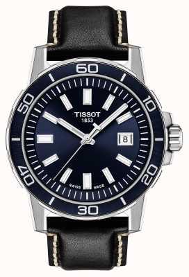 Tissot Supersport | blauwe wijzerplaat | zwarte leren band T1256101604100