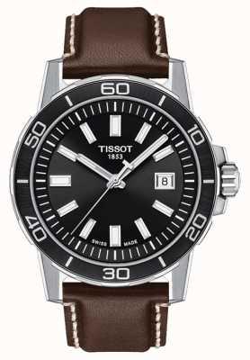 Tissot Supersport | zwarte wijzerplaat | bruine lederen band T1256101605100