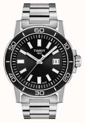 Tissot Supersport | zwarte wijzerplaat | roestvrij stalen armband T1256101105100
