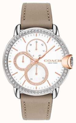 Coach Dames arden | stenen kalfsleren band | witte kristallen wijzerplaat 14503733