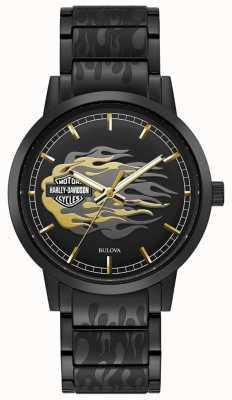 Harley Davidson Vlammen van mannen | zwarte stalen armband | zwarte wijzerplaat 78A121
